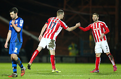Stoke City's Ryan Shawcross celebrates with Stoke City's Phil Bardsley  - Photo mandatory by-line: Matt McNulty/JMP - Mobile: 07966 386802 - 26/01/2015 - SPORT - Football - Rochdale - Spotland Stadium - Rochdale v Stoke City - FA Cup Fourth Round