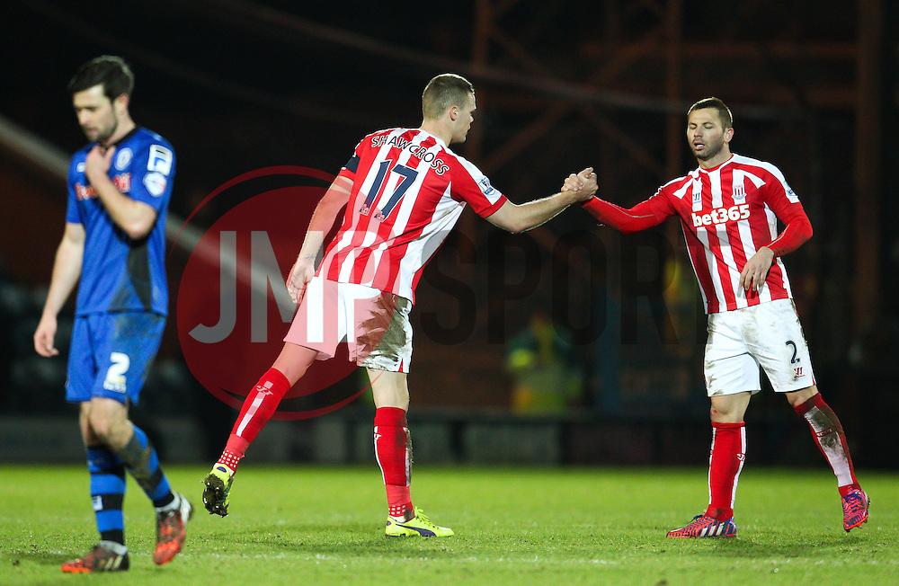 Stoke City's Ryan Shawcross celebrates with Stoke City's Phil Bardsley  - Photo mandatory by-line: Matt McNulty/JMP - Mobile: 07966 386802 - 26/01/2015 - SPORT - Football - Rochdale - Spotland Stadium - Rochdale v Stoke City - FA Cup Fourth Round