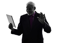 One Caucasian Senior Business Man holding digital tablet saluting Silhouette White Background