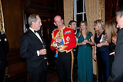 SIMON HEARN; THE DUKE OF KENT, Charity Dinner in aid of Caring for Courage The Royal Scots Dragoon Guards Afganistan Welfare Appeal. In the presence of the Duke of Kent. The Royal Hospital, Chaelsea. London. 20 October 2011. <br /> <br />  , -DO NOT ARCHIVE-© Copyright Photograph by Dafydd Jones. 248 Clapham Rd. London SW9 0PZ. Tel 0207 820 0771. www.dafjones.com.