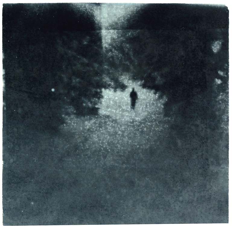 A figure walking under trees