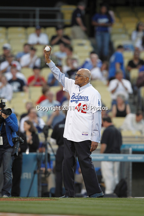 """LOS ANGELES, CA - APRIL 15:  Former pitcher Donald """"Don"""" Newcombe of the Los Angeles Dodgers waves to the crowd as he gets ready to throw out the ceremonial first pitch as part of Jackie Robinson Day festivities prior to the game between the St. Louis Cardinals and the Los Angeles Dodgers on Friday April 15, 2011 at Dodger Stadium in Los Angeles, California. (Photo by Paul Spinelli/MLB Photos via Getty Images) *** Local Caption *** Don Newcombe"""