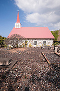 A stone church on the Big Island of Hawaii.
