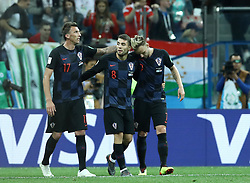 June 21, 2018 - Nizhny Novgorod, Russia - Group D Argentina v Croazia - FIFA World Cup Russia 2018.Mario Mandzukic, Mateo Kovacic and Ivan Rakitic (Croatia) celebrate after the goal of 0-3 at Nizhny Novgorod Stadium, Russia on June 21, 2018. (Credit Image: © Matteo Ciambelli/NurPhoto via ZUMA Press)