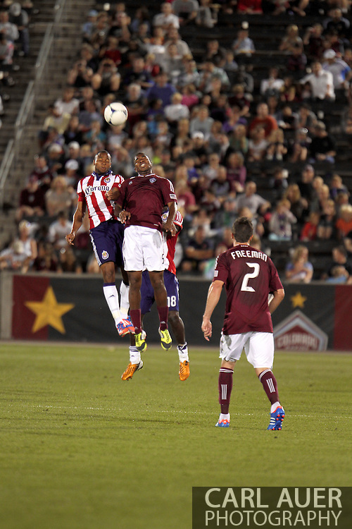 August 18th, 2012: Chivas USA forward Tristan Bowen (20) and Colorado Rapids midfielder Joseph Nane (5) elevate for a header in the second half at Dick's Sporting Goods Park