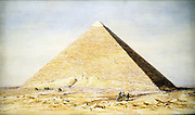 Great Pyramid of Cheops (Khufu) at Giza (Gizeh, El Giza) Old Kingdom c2686-2160 BC. Pyramids on of the Seven Wonders of the World. Watercolour of 1831 by Francis Arundale (1807-53) English architectural draughtsman.