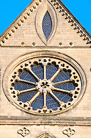 13th century Early English rose window and elongated vesica in the gable to the principal south transept at Beverley Minster. Rose window with 10 columns and plate tracery.
