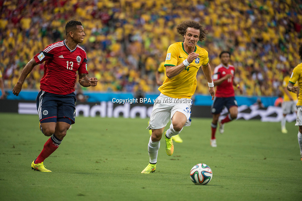 Fredy Guarin and David Luiz. Brazil v Colombia, quarter-final. FIFA World Cup Brazil 2014. Castelao stadium, Fortaleza. 4 July 2014.