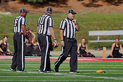 NORMAL, IL - October 06: Stacey Jameson, Jim Scifres, Jamie Birr during a college football game between the ISU (Illinois State University) Redbirds and the Western Illinois Leathernecks on October 06 2018 at Hancock Stadium in Normal, IL. (Photo by Alan Look)