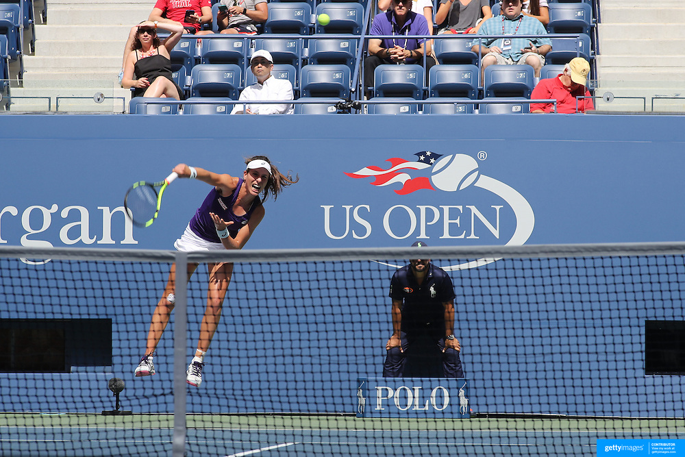 2016 U.S. Open - Day 7  Johanna Konta of Great Britain in action against Anastasija Sevastova of Latvia in the Women's Singles round four match on Arthur Ashe Stadium on day six of the 2016 US Open Tennis Tournament at the USTA Billie Jean King National Tennis Center on September 4, 2016 in Flushing, Queens, New York City.  (Photo by Tim Clayton/Corbis via Getty Images)