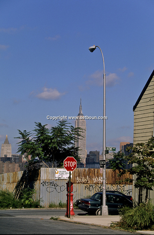 New York. Brooklyn. Le skyline de Manhattan view from Brooklyn  New york  Usa /   Le skyline de Manhattan vu depuis Brooklyn