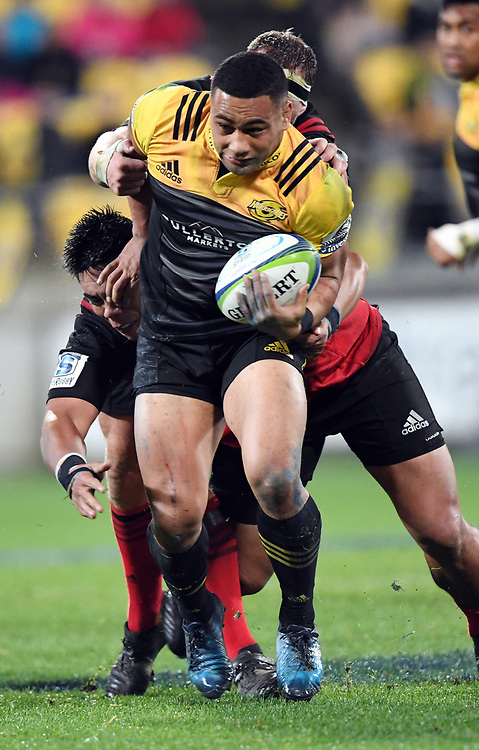 Hurricanes Ngani Laumape against the Crusaders in Super Rugby match at Westpac Stadium, Wellington, New Zealand, Saturday, July 15, 2017. Credit:SNPA / Ross Setford  **NO ARCHIVING""