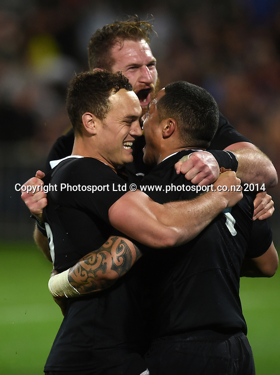 Kieran Read, Israel Dagg and Aaron Smith celebrate after Smith's try. New Zealand All Blacks versus Argentina Pumas. The Rugby Championship. Rugby Union Test Match. McLean Park, Napier. New Zealand. Saturday 6 September 2014. Photo: Andrew Cornaga/www.Photosport.co.nz