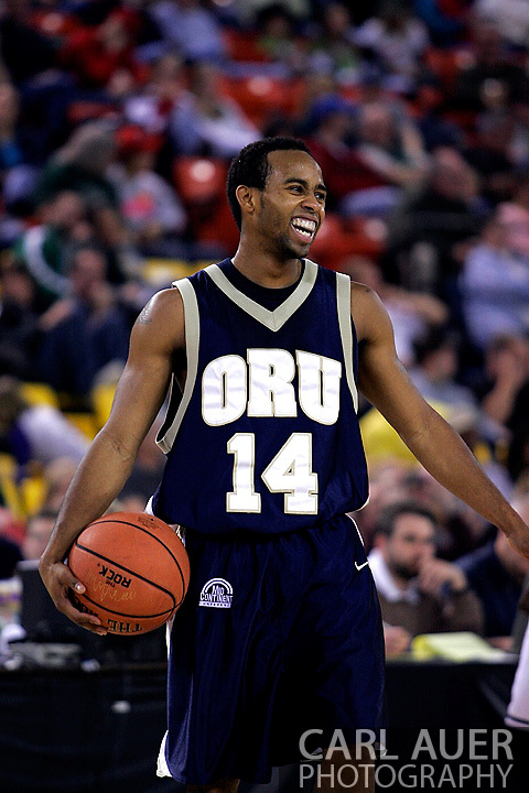 26 November 2005: ORU senior, Jonathan Bluitt in the Oral Roberts University 62-54 victory over Monmouth University in the Great Alaska Shootout in Anchorage, Alaska