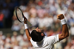 LONDON, ENGLAND - JULY 15: Novak Djokovic of Serbia celebrates beating Kevin Anderson of South Africa to win the Men's Singles Final on day thirteeen of the Wimbledon Lawn Tennis Championships at All England Lawn Tennis and Croquet Club on July 15, 2018 in London, England...People:  Novak Djokovic (Credit Image: © SMG via ZUMA Wire)