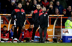 Bristol City head coach Lee Johnson issues instructions to his players with Bristol City coach John Pemberton and Bristol City coach Dean Holden - Mandatory by-line: Robbie Stephenson/JMP - 21/01/2017 - FOOTBALL - The City Ground - Nottingham, England - Nottingham Forest v Bristol City - Sky Bet Championship