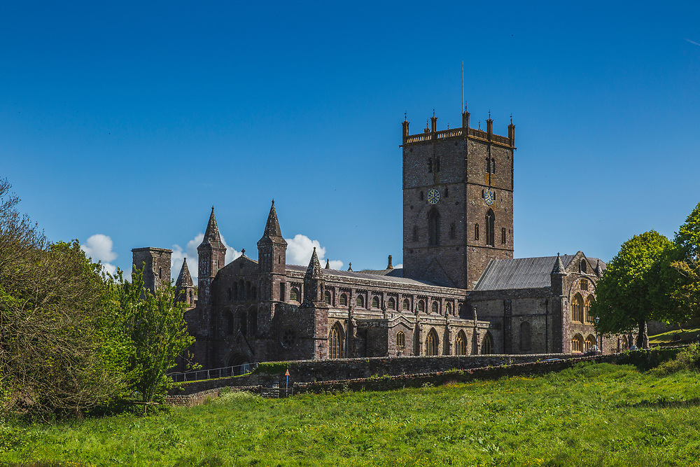 Classic view of St Davids cathedral looking up the river valley