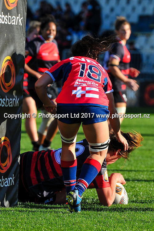 Chelsea Bremner of Canterbury scores a try  during the Farah Palmer Cup, Womens rugby match Canterbury V Tasman, AMI Stadium, Christchurch, New Zealand, 30th September 2017.Copyright photo: John Davidson / www.photosport.nz