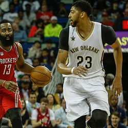 Mar 17, 2017; New Orleans, LA, USA; Houston Rockets guard James Harden (13) drives in against New Orleans Pelicans forward Anthony Davis (23) during the second quarter of a game at the Smoothie King Center. Mandatory Credit: Derick E. Hingle-USA TODAY Sports