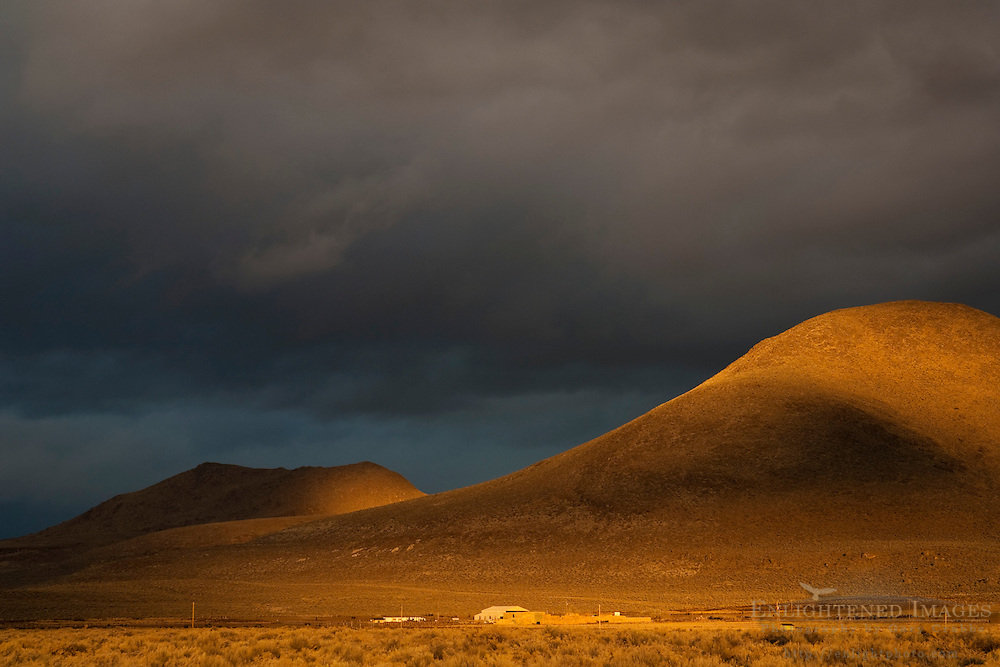 Stormy sunrise light in the hills near Susanville, Lassen County, California