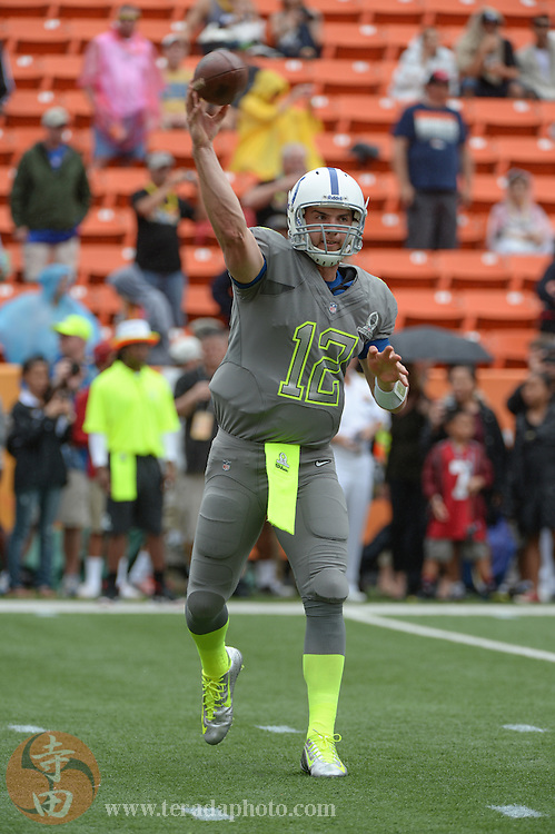 January 26, 2014; Honolulu, HI, USA; Team Sanders quarterback Andrew Luck of the Indianapolis Colts (12) warms up before the 2014 Pro Bowl at Aloha Stadium.