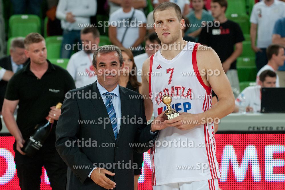 Miro Smrekar and Bojan Bogdanovic of Croatia at friendly match between Croatia and Serbia for Adecco Cup 2011 as part of exhibition games before European Championship Lithuania on August 9, 2011, in SRC Stozice, Ljubljana, Slovenia. (Photo by Matic Klansek Velej / Sportida)