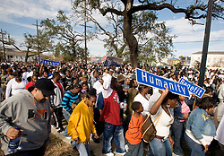 15 Jan, 2006. New Orleans, Louisiana. Post Katrina.<br /> A coalition of 27 social aid and pleasure clubs join forces for a second line parade with the Rebirth Brass band reclaiming the streets of New Orleans.<br /> Photo; Charlie Varley/varleypix.com