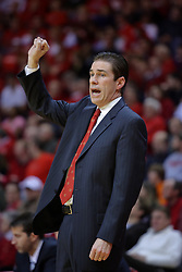 24 February 2009: Coach Tim Jankovich calls in a play. The Redbirds of Illinois State University lost the Panthers of Northern Iowa in double overtime by a score of 69-67 on Doug Collins Court inside Redbird Arena on the campus of Illinois State University in Normal Illinois