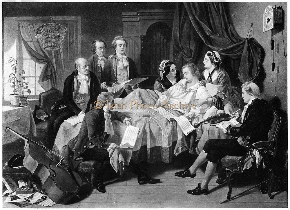 The Deathbed of Mozart 1791' (late 19th century). Wolfgang Amadeus Mozart (1756-1791), Austrian composer on his deathbed surrounded by his wife and friends. The sheets of music are presumably those of his 'Requiem' which was unfinished at the time of his death and was completed by his pupil Sussmayr.