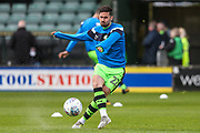 Forest Green Rovers Chris Clements(22) warming up during the EFL Sky Bet League 2 match between Yeovil Town and Forest Green Rovers at Huish Park, Yeovil, England on 24 April 2018. Picture by Shane Healey.