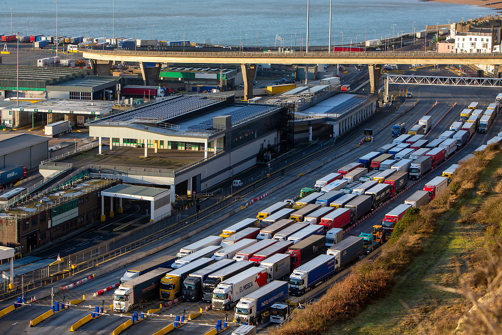 Lorries line up for departure inside the Eastern Dock of the Port of Dover is where the cross channel port is situated with ferries departing here to go to Calais in France on the 29th of January 2020, Dover, Kent, United Kingdom. Dover is the nearest port to France with just 34 kilometres (21 miles) between them. It is one of the busiest ports in the world. As well as freight container ships it is also the main port for P&O and DFDS Seaways ferries.  (photo by Andrew Aitchison / In pictures via Getty Images)