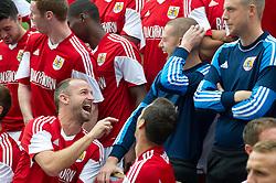 Bristol City's Louis Carey and Frank Fielding share a joke - Photo mandatory by-line: Dougie Allward/JMP - Tel: Mobile: 07966 386802 31/07/2013 - SPORT - FOOTBALL - Avon Gorge Hotel - Clifton Suspension bridge - Bristol -  Team Photo