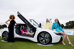 LIVERPOOL, ENGLAND - Friday, June 16, 2017: Model with a BMW i8 hybrid car during Day Two of the Liverpool Hope University International Tennis Tournament 2017 at the Liverpool Cricket Club. (Pic by David Rawcliffe/Propaganda)