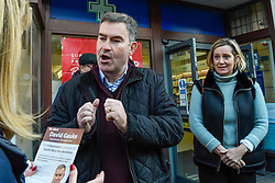 © Licensed to London News Pictures. 18/11/2019. RICKMANSWORTH, UK.  Former Justice Secretary David Gauke (L) campaigns in Rickmansworth as an independent candidate to be the MP of South West Hertfordshire, the seat he has held since 2005.  Offering support to him on the general election campaign trail is former Home Secretary Amber Rudd (R), who has announced she will not be standing as an MP.  Photo credit: Stephen Chung/LNP