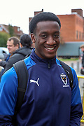 AFC Wimbledon attacker Zach Robinson (29) arriving during the The FA Cup match between AFC Wimbledon and Doncaster Rovers at the Cherry Red Records Stadium, Kingston, England on 9 November 2019.
