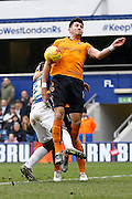 Wolverhampton Wanderers defender Danny Batth forced to deal with an awkward ball in to the box during the Sky Bet Championship match between Queens Park Rangers and Wolverhampton Wanderers at the Loftus Road Stadium, London, England on 23 January 2016. Photo by Andy Walter.