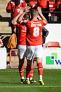 Tom Bradshaw celebrates his second goal during the Sky Bet League 1 match between Walsall and Doncaster Rovers at the Banks's Stadium, Walsall, England on 12 September 2015. Photo by Alan Franklin.