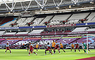 A general view of the game taking place inside the empty stadium during the Premier League match at the London Stadium, London. Picture date: 20th June 2020. Picture credit should read: David Klein/Sportimage