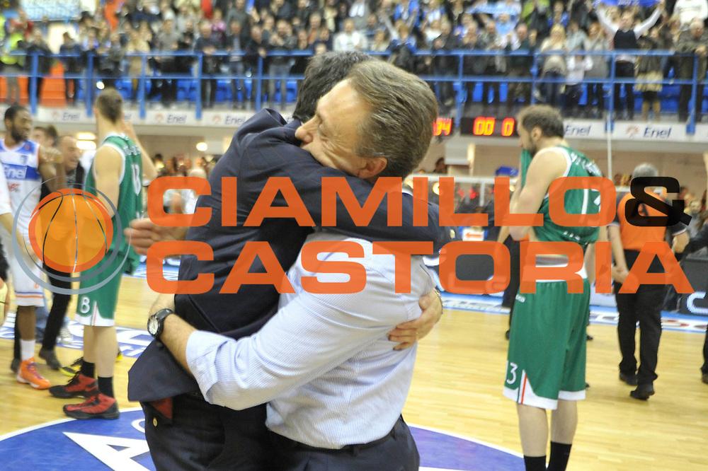 DESCRIZIONE : Brindisi Lega A 2012-13 Enel Brindisi Montepaschi Siena<br /> GIOCATORE : Piero Bucchi <br /> CATEGORIA : Esultanza<br /> SQUADRA : Enel Brindisi<br /> EVENTO : Campionato Lega A 2012-2013 <br /> GARA : Enel Brindisi Montepaschi Siena<br /> DATA : 28/01/2012<br /> SPORT : Pallacanestro <br /> AUTORE : Agenzia Ciamillo-Castoria/V.Tasco<br /> Galleria : Lega Basket A 2012-2013  <br /> Fotonotizia : Brindisi Lega A 2012-13 Enel Brindisi Montepaschi Siena