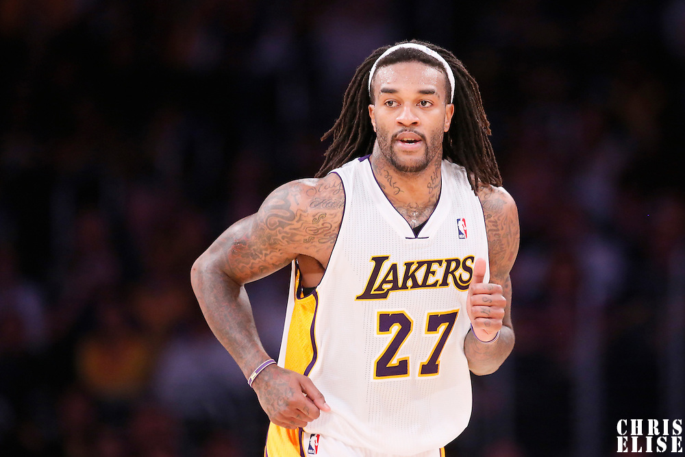 17 November 2013: Los Angeles Lakers center Jordan Hill (27) is seen during the Los Angeles Lakers 114-99 victory over the Detroit Pistons at the Staples Center, Los Angeles, California, USA.