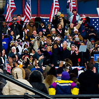 President Barack and Michele Obama and Vice President Joe and Jill Biden speaking at the Wilmington Train Station on January 17, 2009 before his inaugural in Washington DC