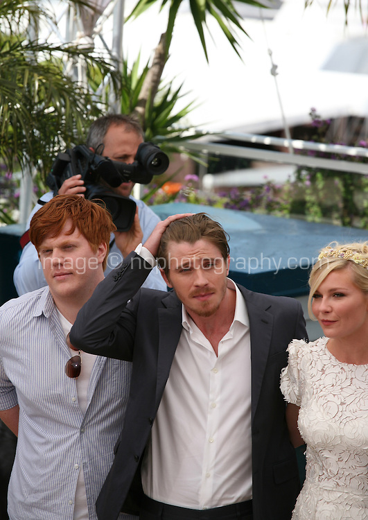 Danny Morgan,  Garret Hedlund, Kirsten Dunst,  at the On The Road photocall at the 65th Cannes Film Festival France. The film is based on the book of the same name by beat writer Jack Kerouak and directed by Walter Salles. Wednesday 23rd May 2012 in Cannes Film Festival, France.