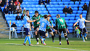 Adam Armstrong, Niall Canavan during the Sky Bet League 1 match between Coventry City and Rochdale at the Ricoh Arena, Coventry, England on 5 March 2016. Photo by Daniel Youngs.