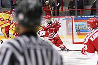2019-10-02 | Ljungby, Sweden: Troja-Ljungby (19) Victor Romfors during the game between IF Troja / Ljungby and Kalmar HC at Ljungby Arena ( Photo by: Fredrik Sten | Swe Press Photo )<br /> <br /> Keywords: Ljungby, Icehockey, HockeyEttan, Ljungby Arena, IF Troja / Ljungby, Kalmar HC, fstk191002, ATG HockeyEttan