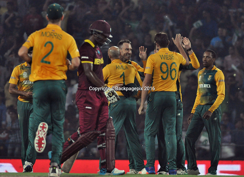 Johnson Charles of t Indian catch by FAF du Plessis bowled David Wiese of South Africa during the 2016 ICC World T20 cricket match between South Africa and West Indies at Vidharbha Cricket Association, Jamtha, India on 25 March 2016 ©BackpagePix