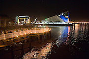 11 September 2009: The Deep, Hull, at night,  with the pier in the foreground. 01482 486603.Picture:Sean Spencer/Hull News & Pictures 01482 210267/07976 433960.High resolution picture library at http://www.hullnews.co.uk.©Sean Spencer/Hull News & Pictures Ltd.