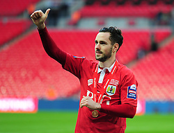 Bristol City's Greg Cunningham puts his thumbs up to the Bristol City fans. - Photo mandatory by-line: Alex James/JMP - Mobile: 07966 386802 - 22/03/2015 - SPORT - Football - London - Wembley Stadium - Bristol City v Walsall - Johnstone Paint Trophy Final