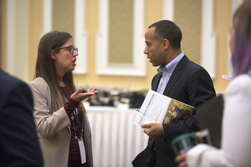 Tony Nuckolls, Vice President of Quicken Loans, speaks with Samantha Salway following the 2016 Schey Sales Symposium held in Baker Center on November 3, 2016.