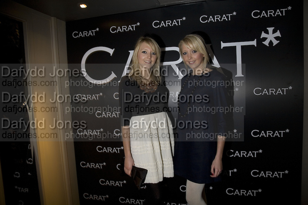 SAM ( CLUSTER NECKLACE) AND AMANDA MARCHANT, Party to launch CARAT a new diamond brand, Kitts. Sloane sq. London. 20 December 2007.  -DO NOT ARCHIVE-© Copyright Photograph by Dafydd Jones. 248 Clapham Rd. London SW9 0PZ. Tel 0207 820 0771. www.dafjones.com.