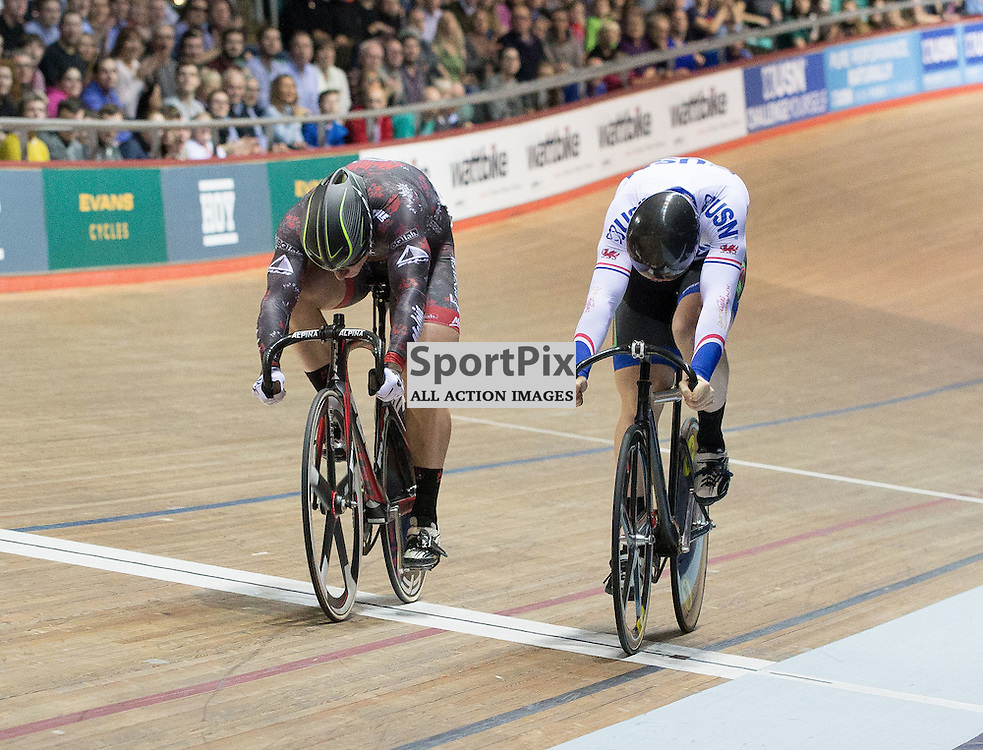 Matt Rotherham beats Lewis Oliva in the first round of the final of the UCI Sprint competition at the Revoultion Series 2015/6 Round 5 Manchester, on 2 January 2016 ( (Photo by Mike Poole - SportPix)